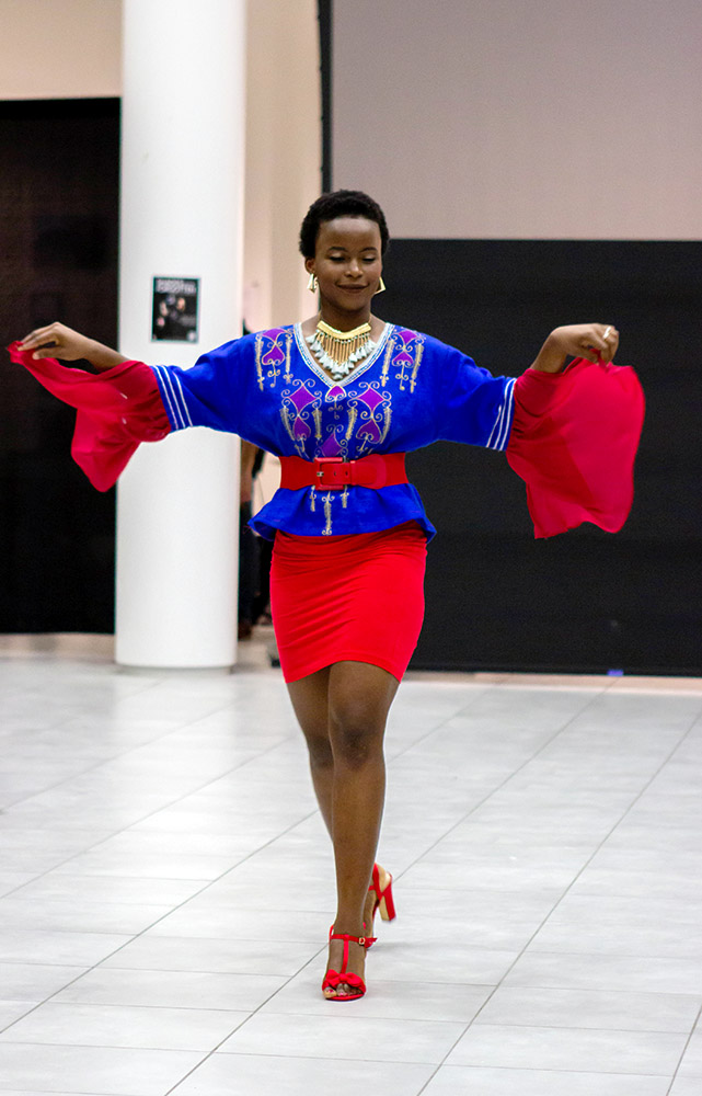 Nadia Gunderson models designs by Dr. Reverend Bokwey Burnley at Shades of the Forgotten Fashion Show hosted by the Organization of African Students in the Vignelli Center on April 20, 2019.  Photo by Jasmin Lin
