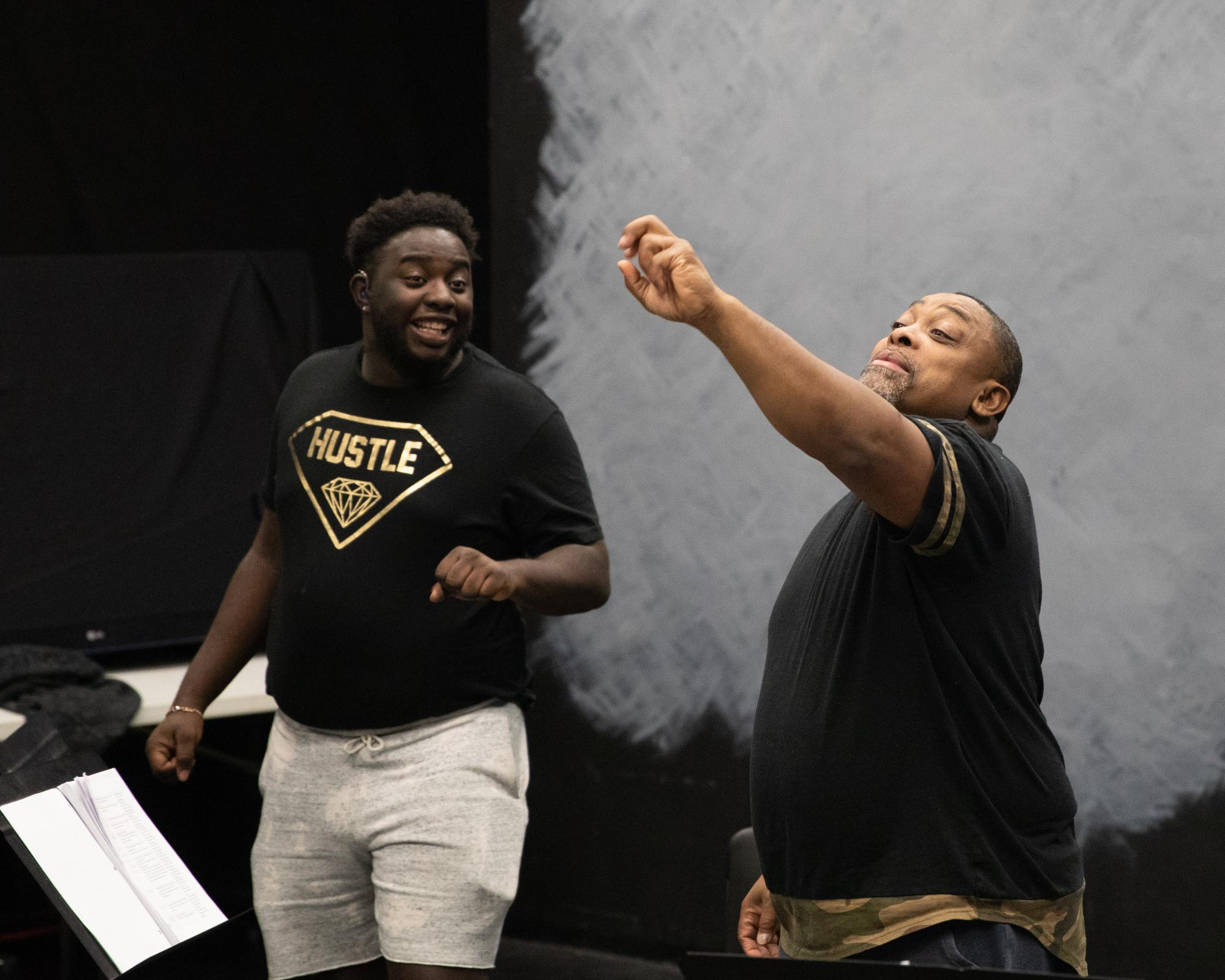 Marquawn Holmes (left) and Troy Chapman (right) rehearse for NTID's theater performance, Fences, in Henrietta, N.Y. on Feb. 4, 2019. Photo by Jesse Wolfe