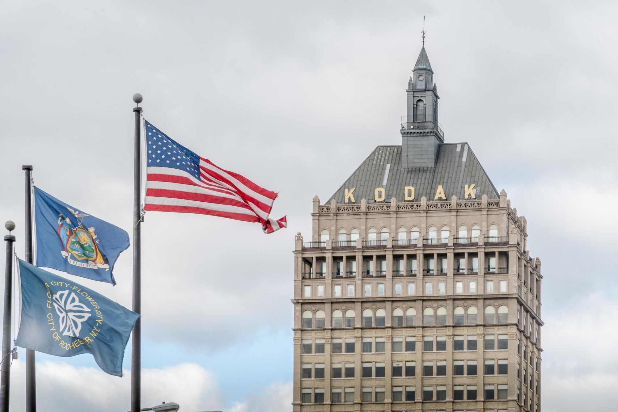 A view of Kodak tower in downtown Rochester. Photograph by Rob Rauchwerger.