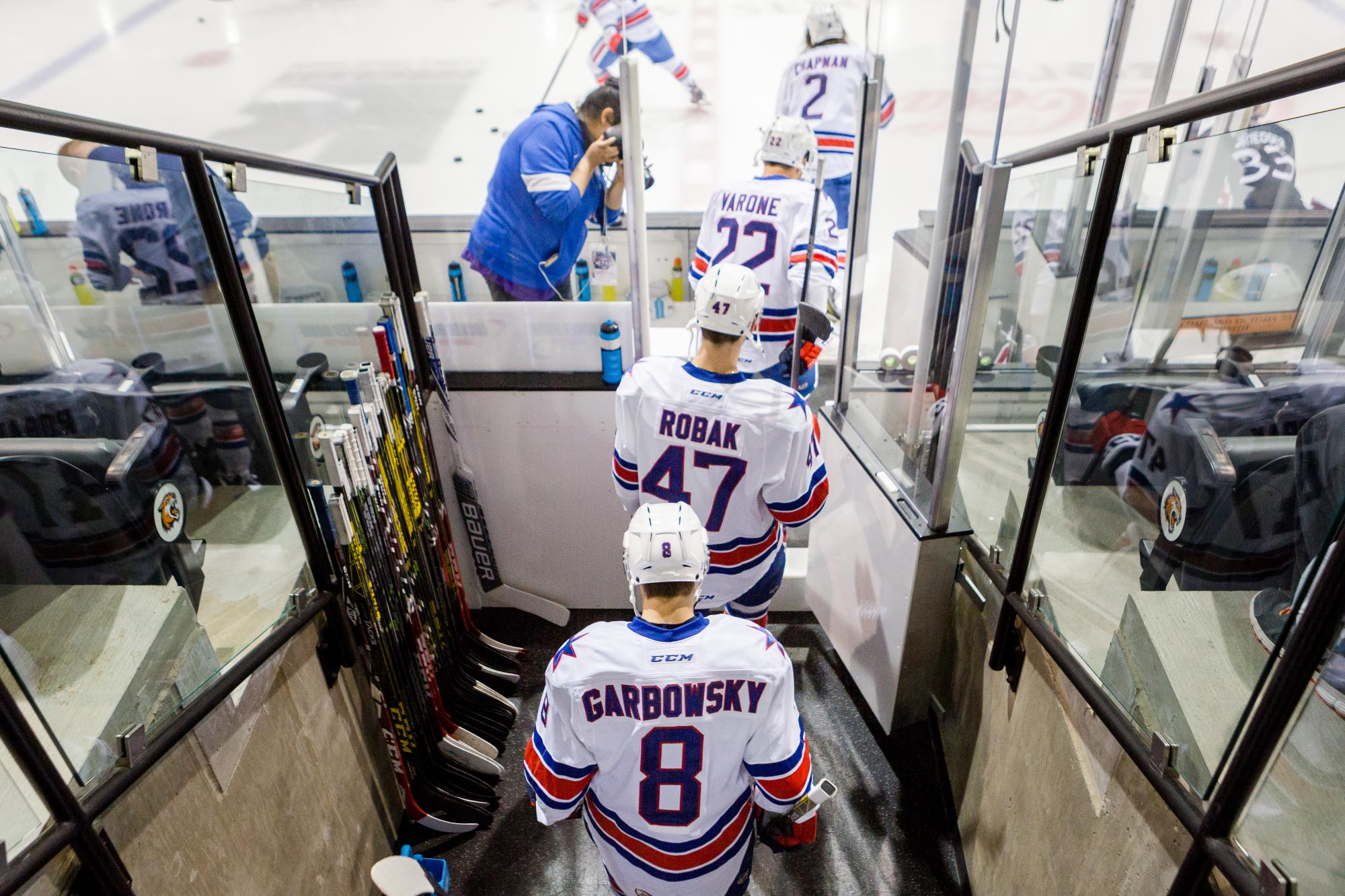 Matt Garbowsky enters the ice with the Rochester Americans at the Gene Polisseni Center on Oct. 1, 2015. Photograph by Rob Rauchwerger.