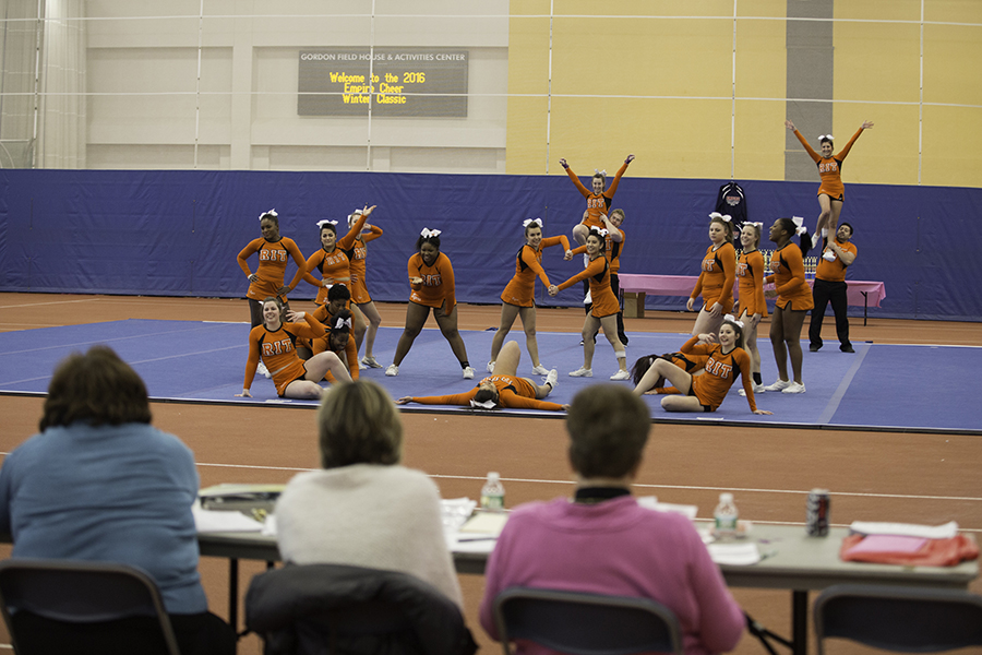 The RIT cheerleading team performs at the Empire Cheer Winter Classic competition at the Rochester Institute of Technology in Rochester, N.Y. on Feb. 13, 2016. Photograph by Joseph Ressler.
