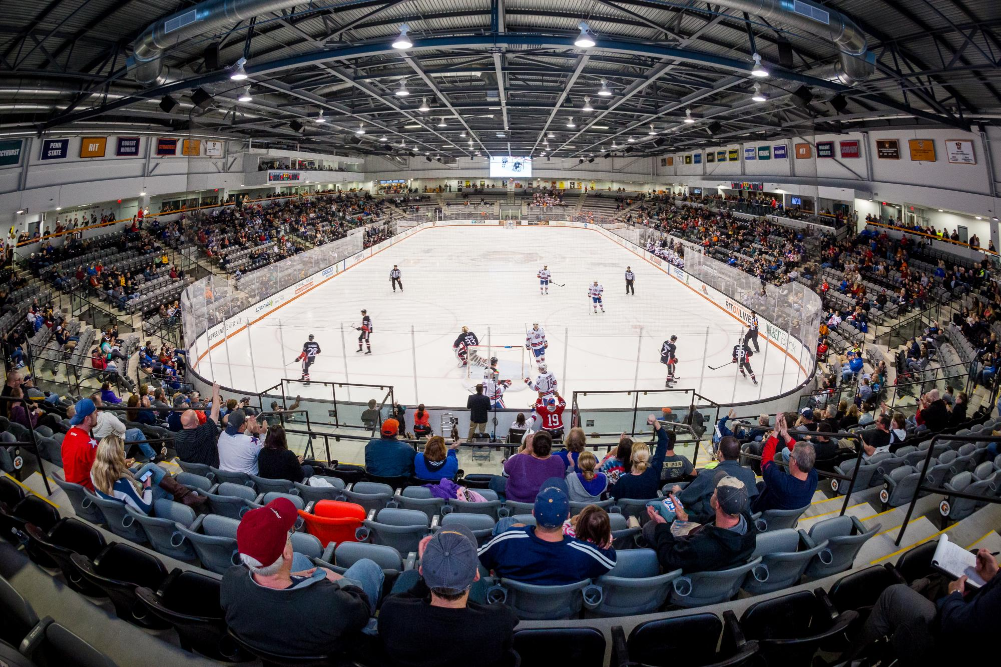 An overview of the Gene Polisseni Center during the Rochester Americans game on Oct. 1, 2015. Photograph by Rob Rauchwerger.